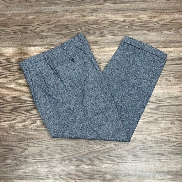 Brioni Blue/Grey Flannel Tweed Wool Pants 32